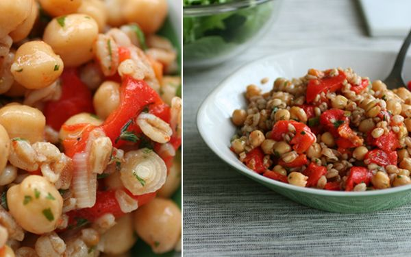 Farro and roasted pepper salad. This dish looks easy to make and tasty ...