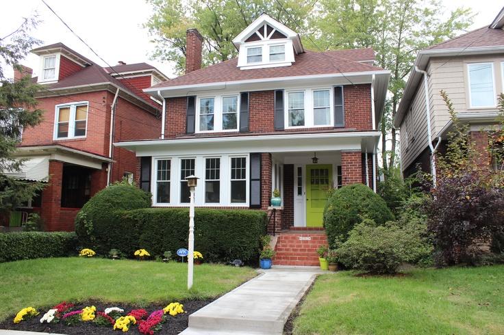 Green door black shutters red brick house ideas pinterest - Red brick house black shutters ...