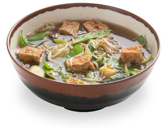 moyashi soba - fried tofu, vegetables in noodle soup (whole wheat ...