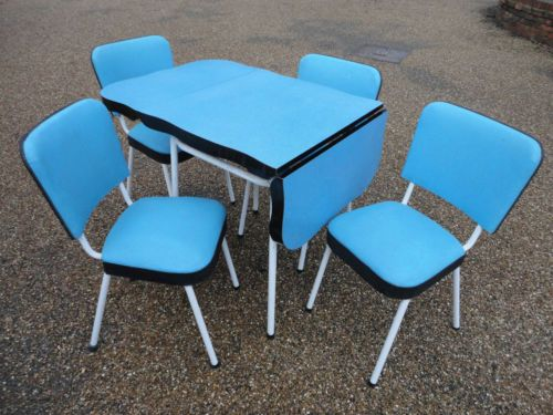 rare vintage retro 50s blue formica dining kitchen table chairs