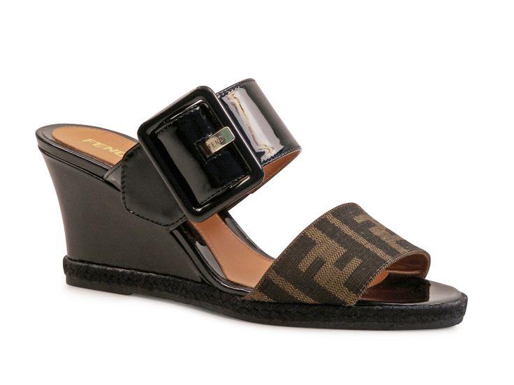 Fendi black Patent Leather Fendissima slide wedges sandals