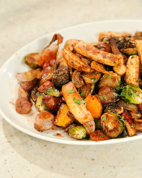 Roasted Fall Salad with Parsnips, Brussels Sprouts, and Grapes | Reci ...