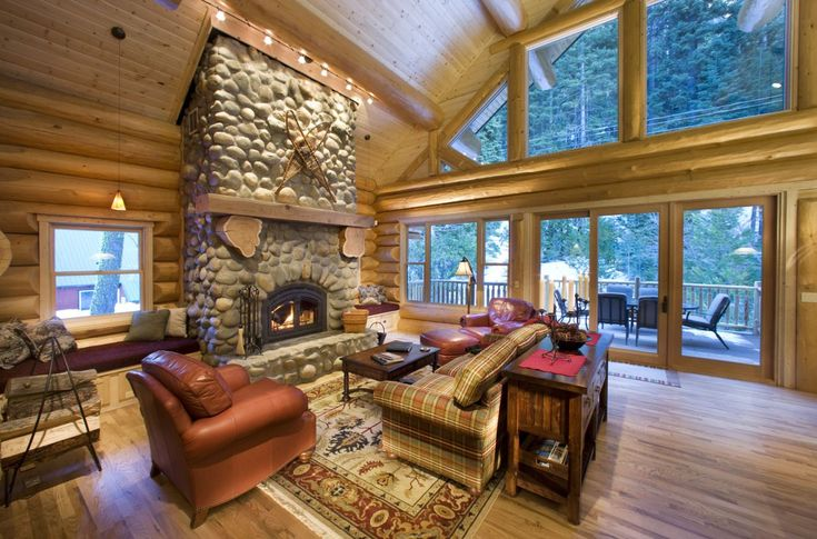 Living room log cabin la chateau avec amour pinterest for Log home living room ideas
