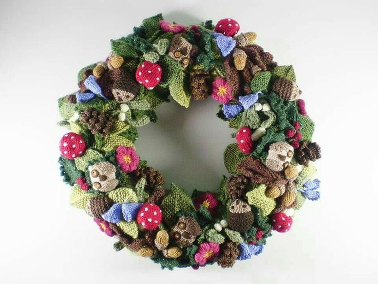 Woodland wreath knitting and crochet projects Pinterest