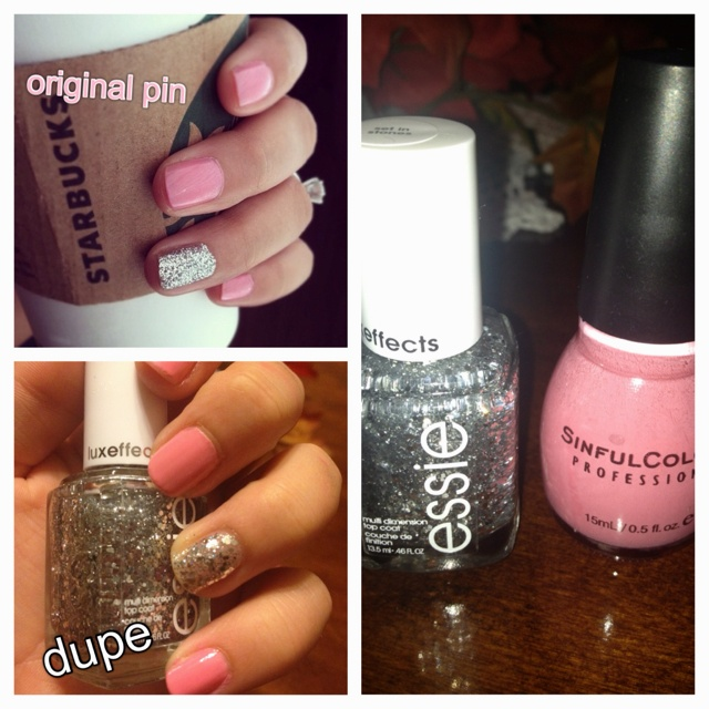 My first pinterest dupe using Essie's set in stones and SinfulColors beautiful gir