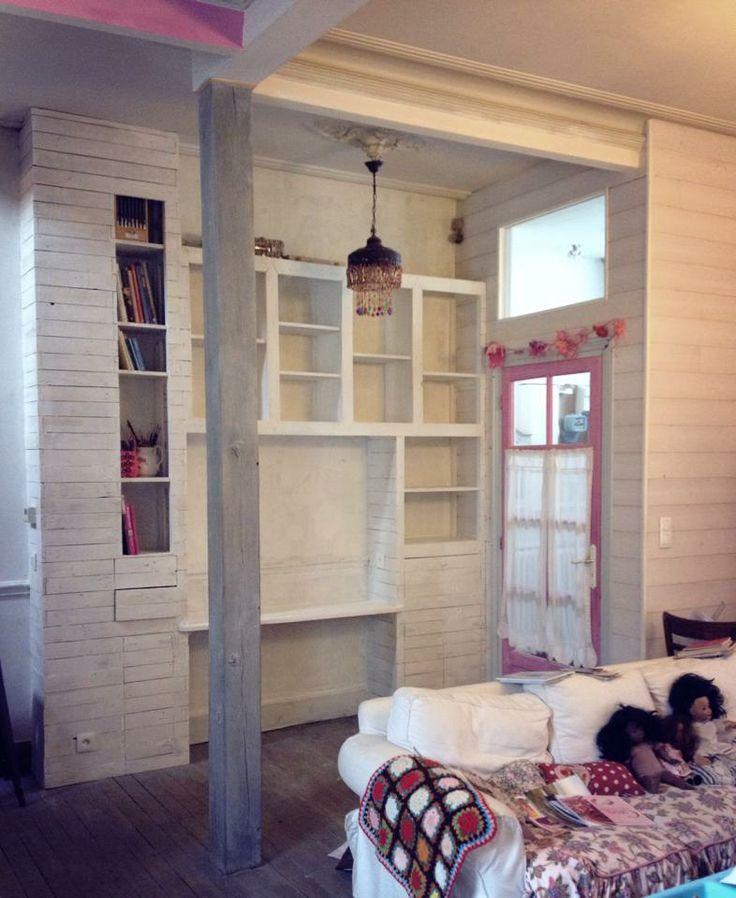 Biblioth que en bois de palette chez moi pinterest - Bibliotheque en bois de palette ...