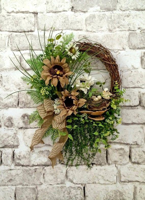 Burlap summer wreath for door front door wreath sunflower wreath