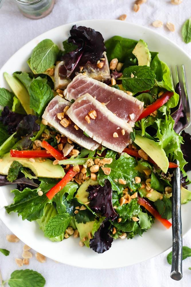 Sesame Seared Tuna With Lime Ginger Vinaigrette Recipe ...