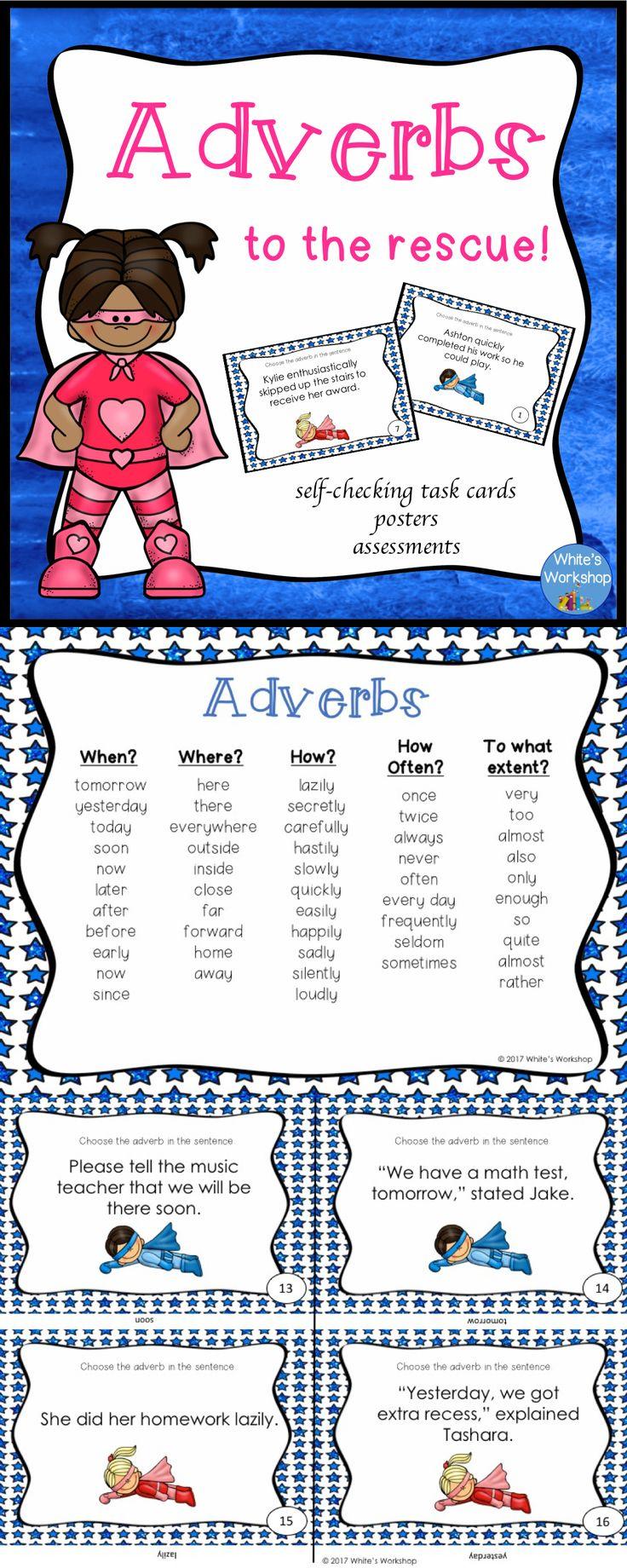 Adverb Task Cards, grades 35 Adverb task cards, Adverb