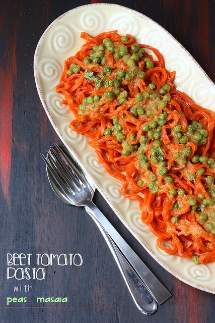 BEET TOMATO PASTA with GREEN PEAS MASALA | Recipe | Pinterest
