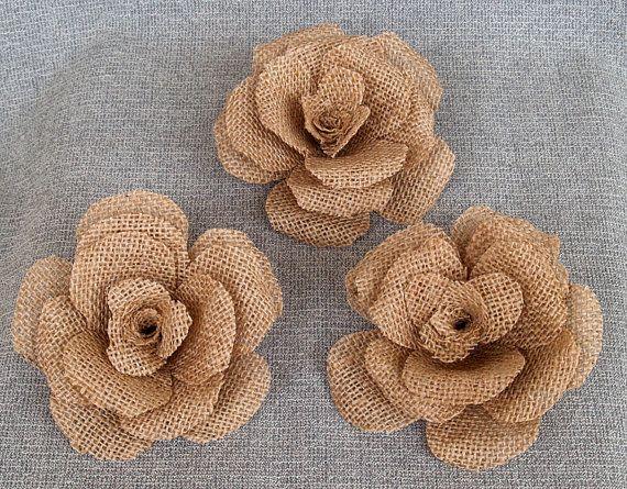 3 large burlap flower rustic wedding decoration craft for Burlap flower template