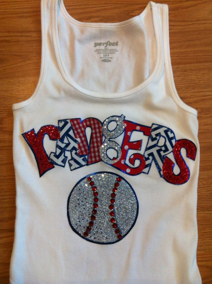 Custom Sports Team Rangers Baseball Appliqued Tank Tee Shirt