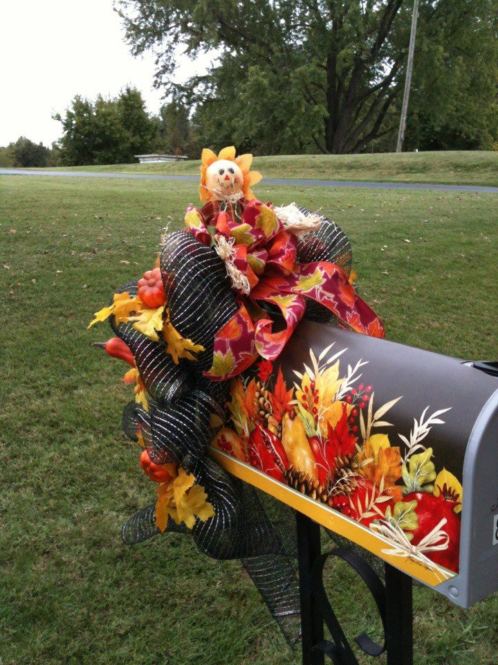 My mailbox decorated for fall  FALLHARVEST  Pinterest ~ 222911_Halloween Decorating Ideas For Mailboxes
