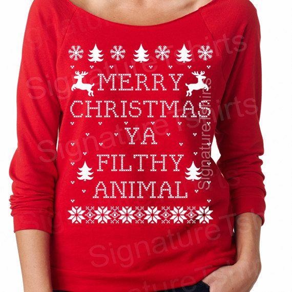 Merry Christmas Ya Filthy Animal - Womens Christmas Sweatshirt - UGLY