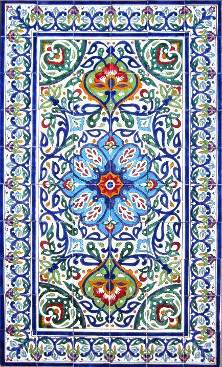 Decorative persian tiles persian design mosaic panel hand for Decorative mural painting