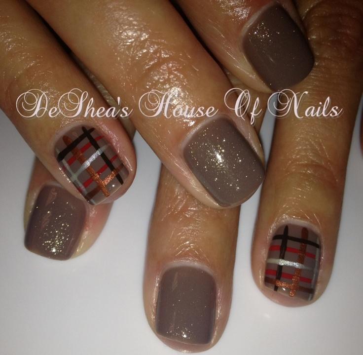 Shellac nails City scape/gold VIP plaid   Hair, makeup and nails   Pi