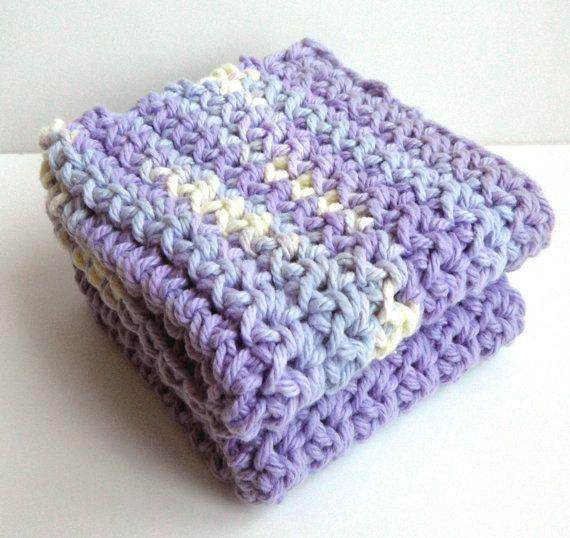 Crochet Washcloth : Crochet Dishcloths Washcloths - Set of 2 - For Kitchen or Bathroom ...