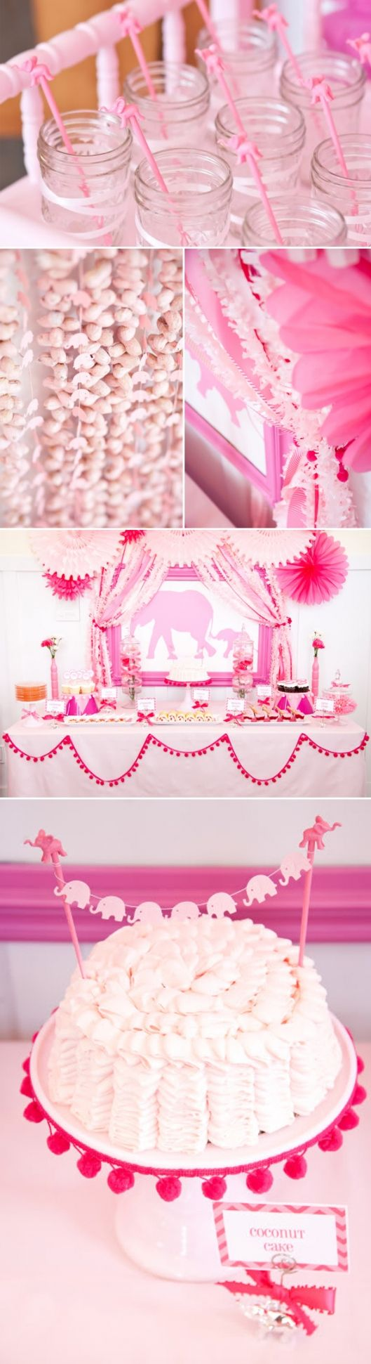 Pink Elephant Baby Showers ~ Color could be switched to blue for a boy elephant themed