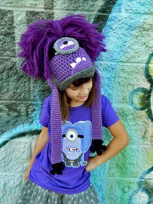 Evil Purple Minion Crochet Hat pattern by Snappy Tots.
