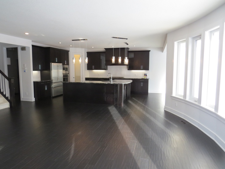 Fountain Park Estates  Oak Charcoal Stain cabinets with white Tierra