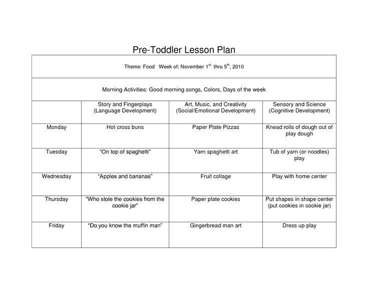 Creative Curriculum Blank Lesson Plan | WCC Pre toddler curriculum ...