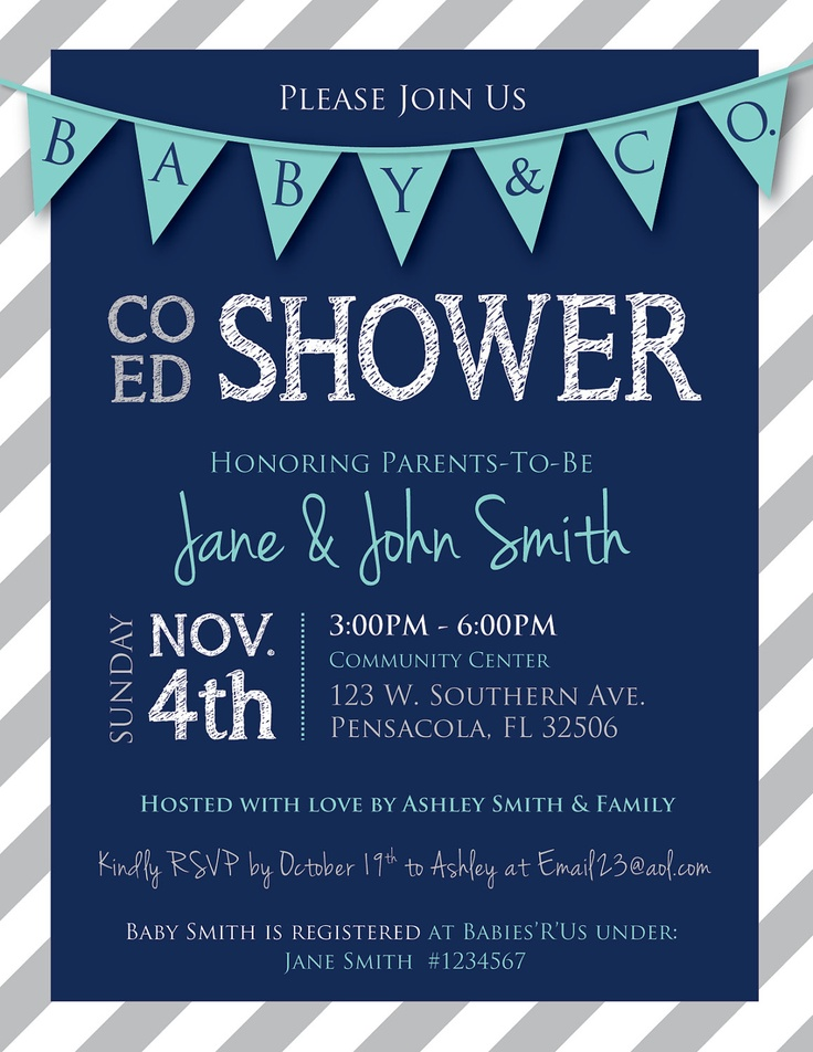 co ed baby shower flags and stripes invitation navy tiffany blue