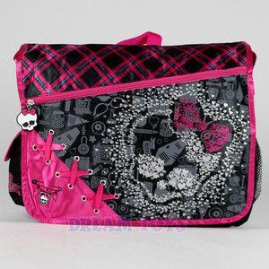 Monster High Messenger Bag Glitter Skull Large Girls School Shoulder ...