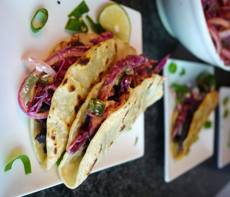 Crispy Black Bean Tacos with Feta and Spicy Lime Cabbage Slaw | Recipe