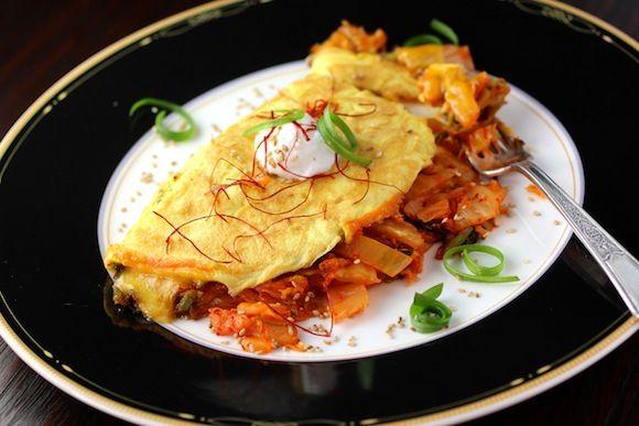 Kimchi & Cheddar Omelette #ComfortFoodFeast
