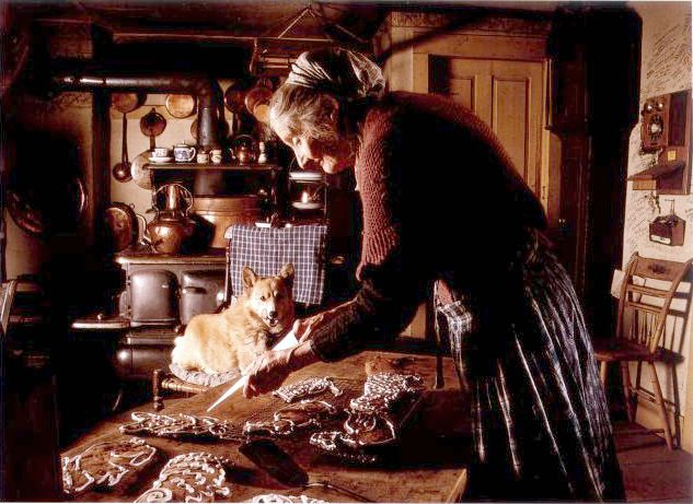 Making cookies. Tasha Tudor was an American illustrator and author of children's books