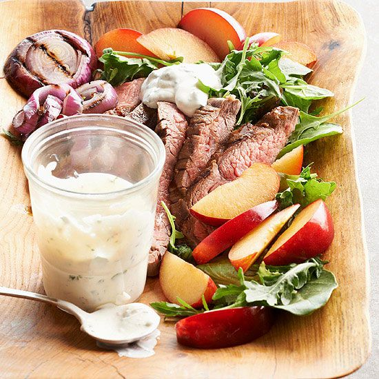 Flank Steak and Plum Salad with Creamy Chimichurri Dressing // More ...
