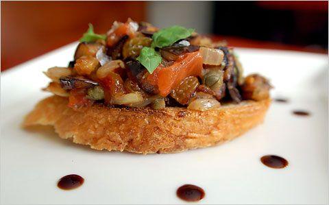 Eggplant Caponata Crostini   Food, wonderful, glorious food!   Pinter ...
