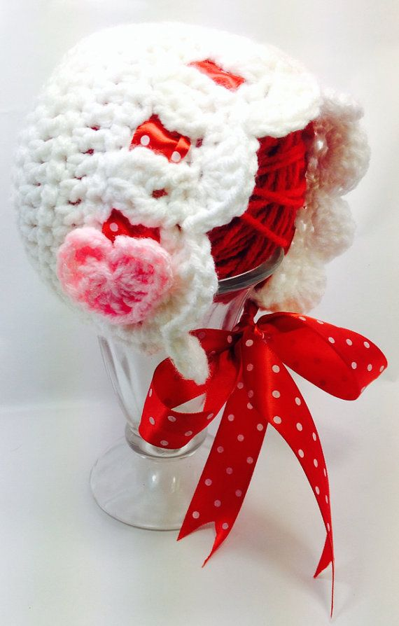 Crocheting For Valentines Day : Crochet newborn valentines day bonnet on Etsy, $15.00