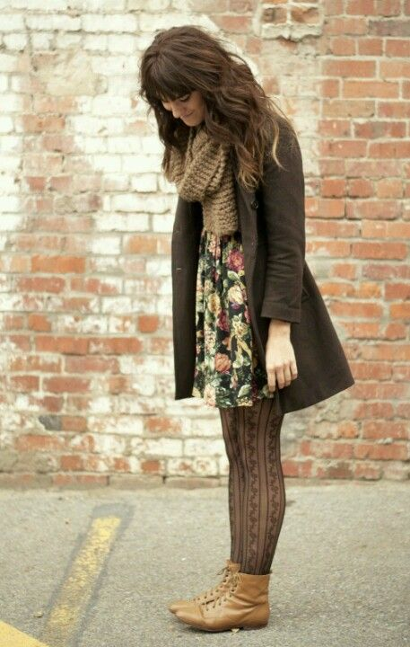 Floral patterns, leather boots, textured tights, bulky scarf.