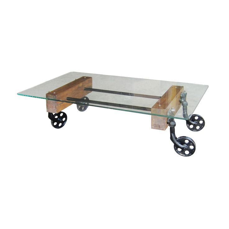 Industrial Glass Cart Coffee Table