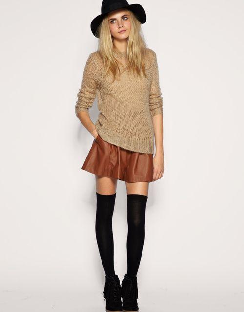 thigh high socks and skirts fashion