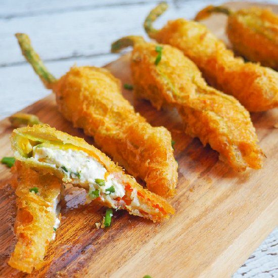 Gluten Free Tempura Fried Zucchini (Courgette) Flowers filled with ...