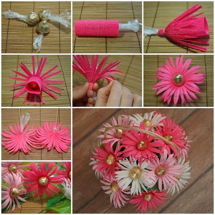 Цветы из конфет и гофрированной бумаги: своими руками