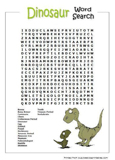 Dinosaur Word Searches | SRC 2013 ~ GO! Explore... | Pinterest