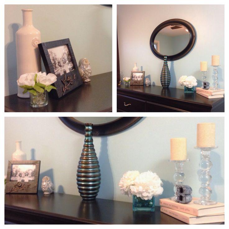 dresser decorating ideas glass flowers porcelain a splash of