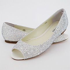 Benjamin Adams Halle crystal flat wedding shoes.  Finally! An Adorable crystal flat shoe for bridal or evening wear. Glamour & comfort.