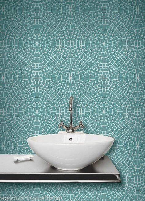 mosaic tile effect tiling on a roll bathroom kitchen wallpaper