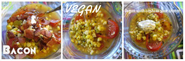 Versatile fresh corn stew options: with bacon, vegan, and with cashew ...
