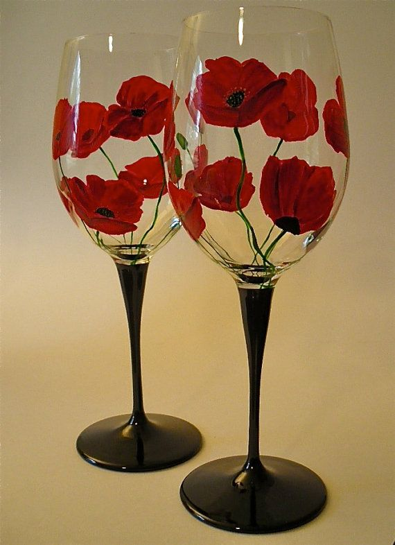 Painted 15 7 8 oz wine glasses red poppies set of 2 Images of painted wine glasses