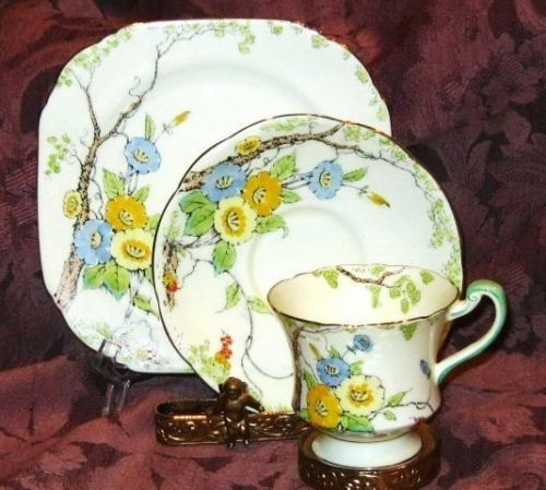 Morning Glory Floral Enamel Painted Paragon Trio Tea Cup and Saucer ...