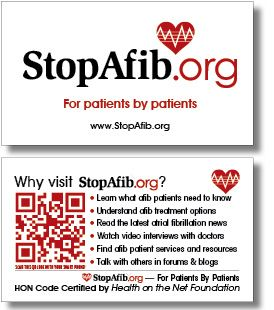 StopAfib.org uses QR Codes to Help Atrial Fibrillation Patients and their families to answer questions about Atrial Fibrillation