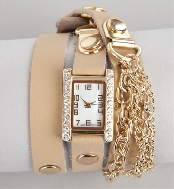 Tan Chain Fringe Wrap Watch