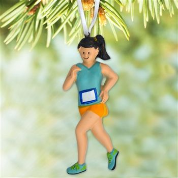 Running Girl Ornament - Brunette