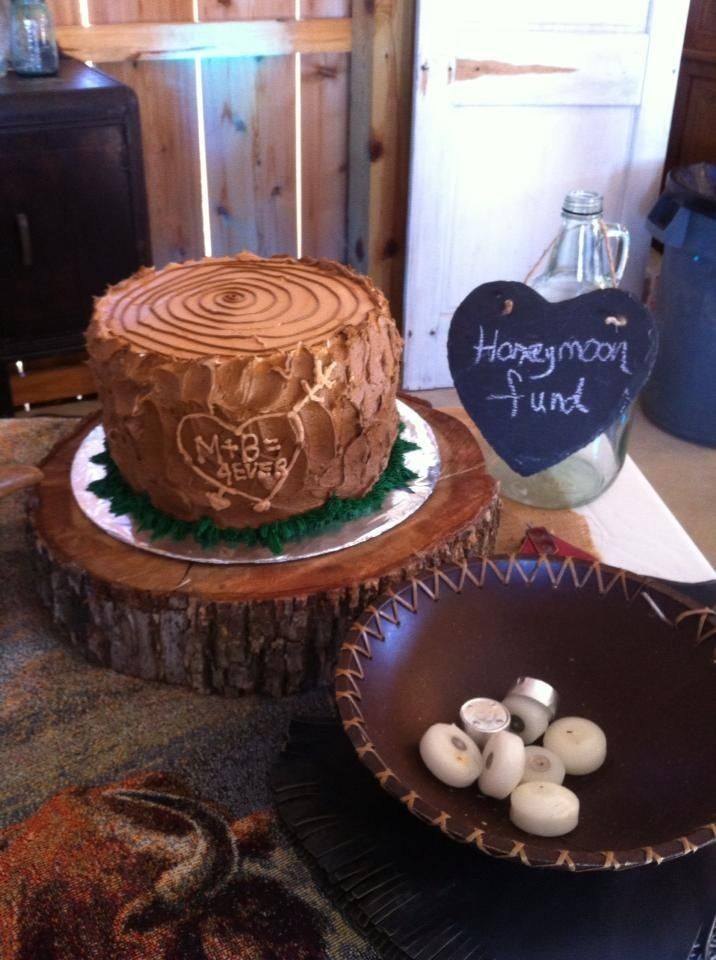 Country Grooms Cake Tree Trunk UnMarried Friends Family Pinterest