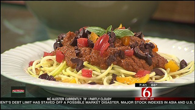 Raw zucchini pasta with fresh marinara (and a corn tomato salad)